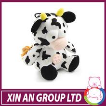 15cm promozionali personalizzati seduto peluche natale orso/vacca/rana/maiale fattoria degli animali giocattolo con cappello di natale,& papillon
