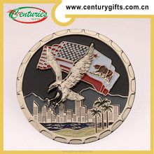 3D kunshan promotional custom eagle coin with gold/silver/copper plating, customized designs are welcome