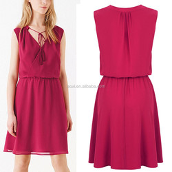 Fit and flare sleeveless wrap front plum women dress