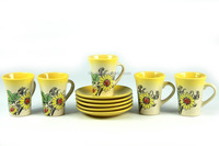 New flower design ceramic yellow mugs with printing for sublimation