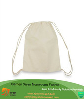 Drawstring Bag Backpack Sack Made of Cotton in Natural White