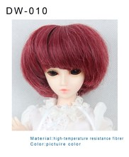 wholesale wine red heat resistence material wig short hair looks good girl doll wigs