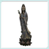 Bronzed guanyin standing hand painted kuan yin statue