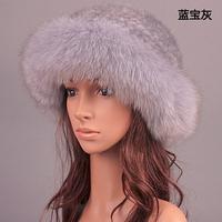 Luxury Real Mink Fur With Fox Fur Bucket Hat Winter Cap Women
