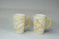creative ceramic embossed starfish coffee mug with embossed handle,Creative Ceramic Sea Animal Shaking Mug-Starfish