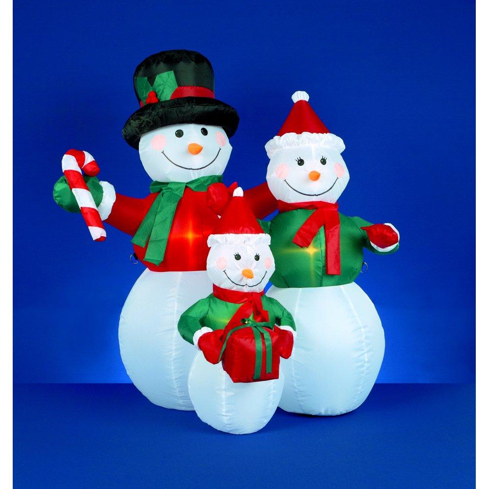 Wholesale 4 foot inflatable snowmen family holding gifts for Decoration porte bonhomme de neige