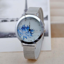 2015 elegant classical china style blue and white percelain stainless steel watch wholesale,rhinestone watch