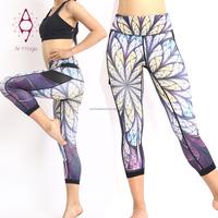 Wholesale women printed sex capri running yoga leggings
