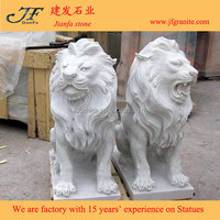 Antique Snow White Stone Lions Statues