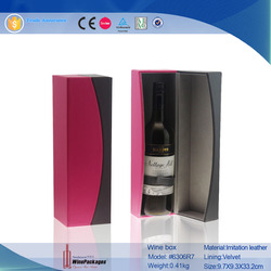 Black And Pink PU Leather Wine Bottle Gift Box
