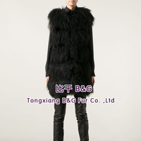 BG60103 Women Genuine mongolia lamb Fur Vest