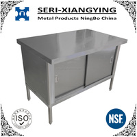 NSF Approval Stainless Steel Kitchen Dish Cabinet With Sliding Door