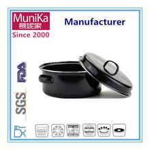 Munika Enamel coated non-stick cookware wholesale,Black porcelain camping roaster hole pan 22cm
