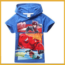 kids 100% organic cotton t-shirts ,boy cartoon T-shirts for Summer, T-shirt importers big hero 6