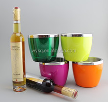 750ml(25oz) stainless steel good quality low price double walls bar ice bucket/wine cooler/beer tube with colorful plastic walls