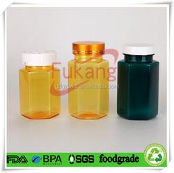 hexagonal shape PET plastic pill bottle,200cc / 5 oz plastic pill container,OEM color PET plastic pill container