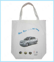 advertising limousine print white color nature cotton shopping tote bag