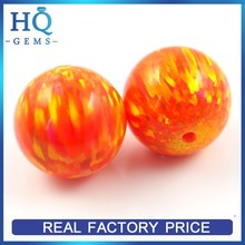 Lab created opal balls synthetic drilled hole opal bead orange