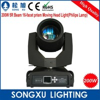 16 channels 16 facet prism sharpy beam moving head light beam 200 beam 5r for dj disco nightclub theater party