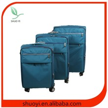 shuoyi cheap super light trolley crinkle nylon 3 piece trolley luggage set for men&women