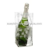 Plastic tube handle pvc ice cooler bag wine ice bag