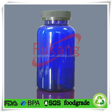650cc blue colored PET plastic pill bottle container with grey 53mm PP child proof cap