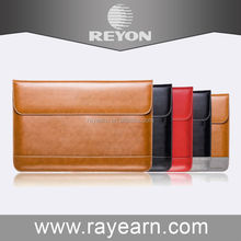 """Brown leather sleeve for macbook air 12"""" with pocket on the back"""