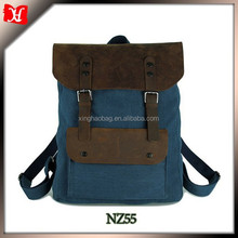 Navy blue canvas leather backpack fabric for backpack rucksack bags laptop backpack