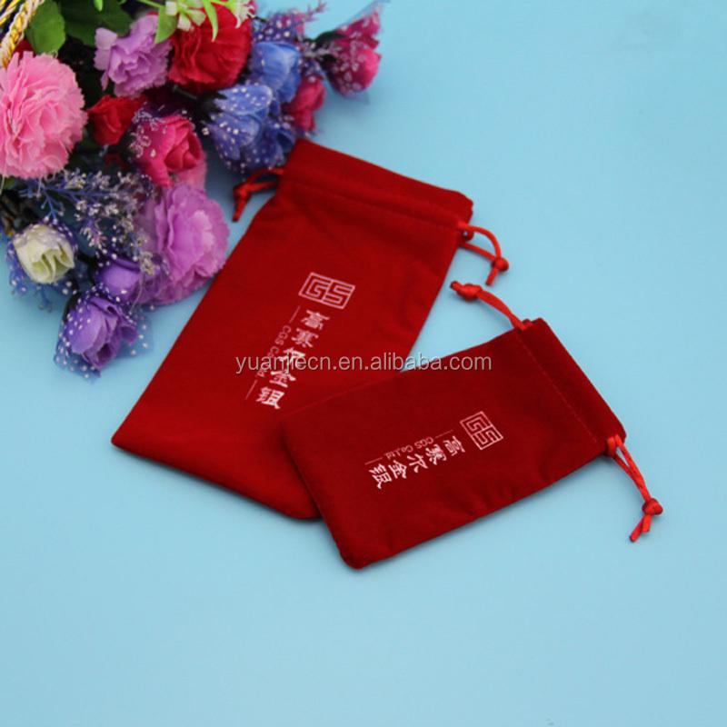 Custom plain screen painting drawstring blue velvet promotional bag