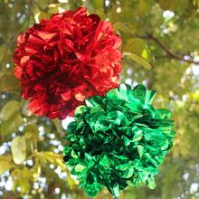 2015 New Creative Metallic Red Green Hanging Pom Pom Foil Christmas Decoration