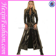 NO MOQ cheap wholesale sexy women long leather coat made in China