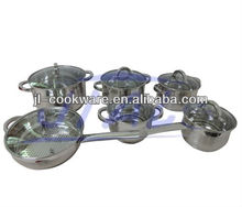 12pcs induction bottom jumbo stainless steel cookware