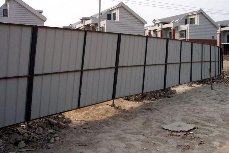 Steel Fence Construction : Galvanized corrugated sheet hoarding construction