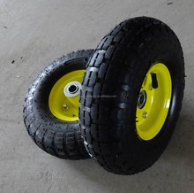 top quality yellow color pneumatic rubber wheel small size