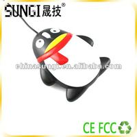 Lovely wired QQ shape optical mouse usb penguin mouse