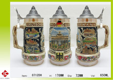 Whole sale and new designed handpainted and reliefed ceramic beer mug