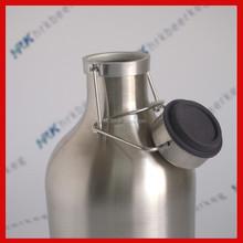 stainless steel 64ounce sound opening beer bottle flip top growler