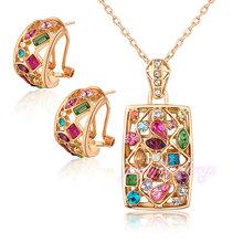 fashion jewelry china retangle shaped gold colorful stone jewelry display set