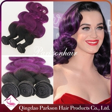 Peruvian Body Wave Hair Wholesale Unprocessed Human Ombre Purple Hair Weaves Peruvian Virgin Hair Extention