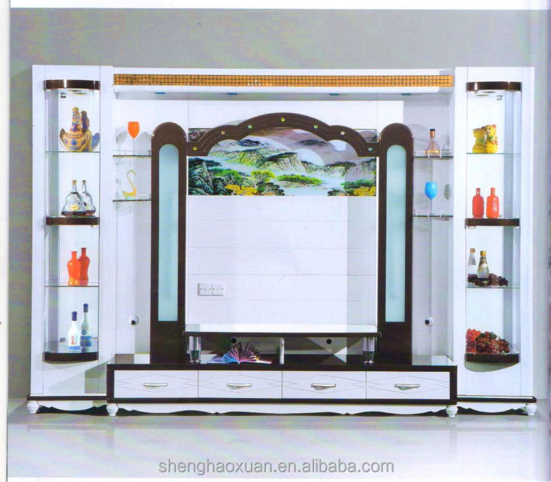 Tv showcase in wall sammlung von design for Lcd wall unit designs for hall