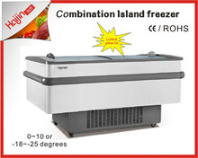 1000L skin type with Low-E glass lids and auto defrost Island fridge