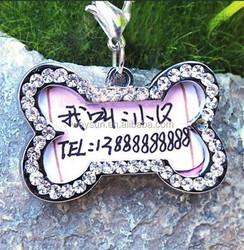 DHL Freeshipping Min 500pcs/lot pet tags Rhinestone Bone-shaped Necklace Pendant Charm Pet Dog Cat ID Tag