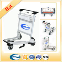 Lightweight portable airport luggage trolley cart with brake