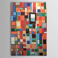 100% Hand-painted small checks abstract home decor Painting on canvas room decor