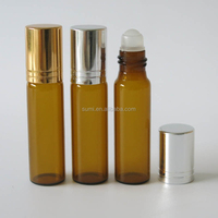 Free shipping 7ml Amber Glass Roll-On Bottle,7cc Brown Roll-on Container, Small Glass Essential Oil Roller Ball Bottle