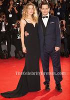 Amber Heard Black Evening Dress 2015 Venice Film Festival Gown