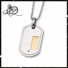 Stainless Steel, 18 Karat Gold and Diamond Accent Dog Tag Necklace