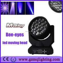 19pcs Led stage light unlimited rotating Bee eye led beam moving head light