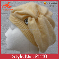 P1110 fancy mohair foppy beige knitted beanie hat for young lady