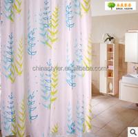 Leaf design polyester shower curtain fabric printed garden pattern curtains designs